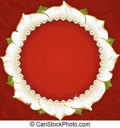 Weißer Blumenkreisrahmen