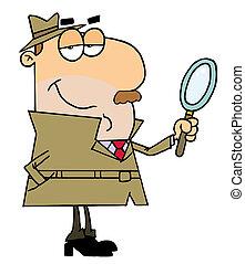 Weißer Cartoon-Detektiv