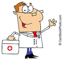 Weißer Cartoon-Doktor-Mann