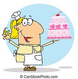 Weißer Cartoon-Kuchenmacherin