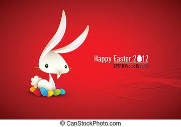 Weißer Hase mit farbigen Eiern, östliche Illustration
