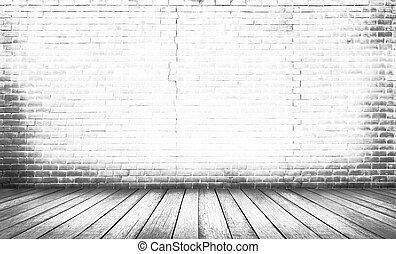 Weißer Holzfußboden mit Backsteinmauer Hintergrund.
