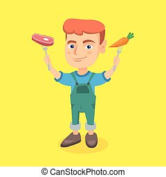 Weißer Junge mit frischem Karotten und Steak.