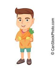 Weißer Junge mit frischer Karotte.