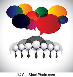Weißer Kragen Mitarbeiter Kommunikation, Interaktion - Konzeptvektor. Die Grafik zeigt auch Menschen Konferenz, Social Media Network, Executives & Management, Vorstandsmitglieder, Corporate People