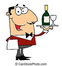 Weißer männlicher Butler, der Wein serviert