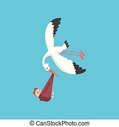 Weißer Storch liefert ein neugeborenes Baby, fliegender Vogel mit einem Bündel mit lächelndem Kind, Vorlage für Baby-Dusche Banner, Einladung, Poster, Grußkarte Vektor Illustration.
