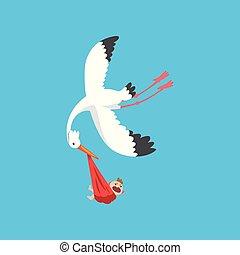 Weißer Storch liefert ein neugeborenes Baby, fliegender Vogel mit einem Bündel mit weinendem Baby, Vorlage für Baby-Dusche Banner, Einladung, Poster, Grußkarte Vektor Illustration.