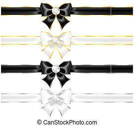 Weißer und schwarzer Bogen mit Diamanten, Goldschmieden und Bändern