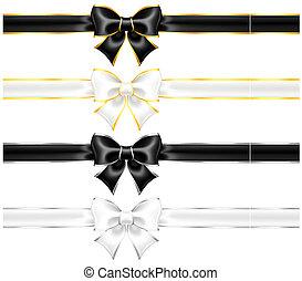 Weißer und schwarzer Bogen mit Gold und Silber und Schleifen