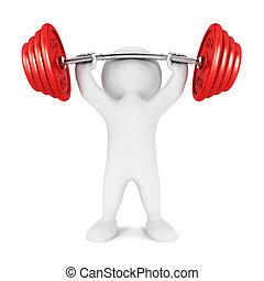 weißes, 3d, weightlifting, leute