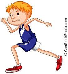 weißes, athlet, rennender , hintergrund
