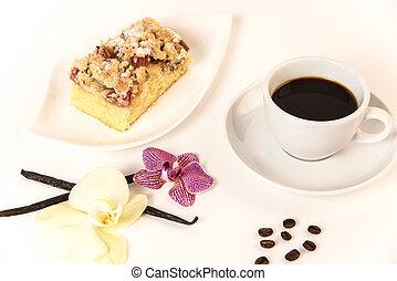 weißes, dekoration, platte, steht, becher, kaffe kuchen, orchideen, hintergrund