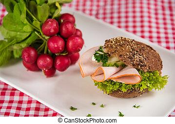 weißes, dekoration, sausage, platte, bread, gefüllt, bündel, rettiche, rolle, ei, lies, geschnittener scheiben käse