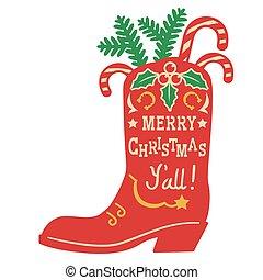 weißes, dekoration, weihnachten., abbildung, vektor, stiefel, feiertag, weinlese, land, design, hintergrund, cowboy