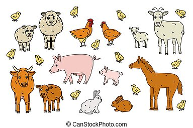 weißes, hahn, gekritzel, reizend, ram, klein, farm., freigestellt, grobdarstellung, karikatur, huhn, vektor, kind, satz, kälbchen, stier, kuh, kanninchen, groß, schwein, pferd, hintergrund., tiere, mutter, schafe, hase, ziege