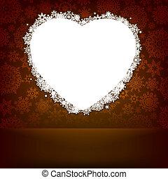 Weißes Herz aus Schneeflocken. EPS 8