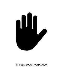 weißes, ikone, hand, freigestellt, vektor