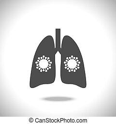 weißes, ikone, vektor, hintergrund., virus, abbildung, lungen, freigestellt