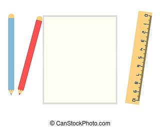 Weißes Papier mit Bleistift und Linear.