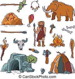 weißes, prähistorisch, urzeitlich, leute, neandertaler, alter, feuer, freigestellt, uralt, abbildung, satz, mann, waffe, höhle, zeichen, stein, entsteint, mammut, vektor, primitiv, hintergrund, höhlenmensch