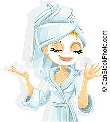 weißes, reizend, gesichtsmaske, sie, bademantel, freigestellt, m�dchen, hintergrund, kosmetisch