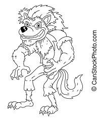 weißes, schwarz, karikatur, werwolf