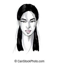 weißes, sketchy, frau, mode, porträt, asiatisch, abbildung, schöne , rosafarbene lippen, schwarz