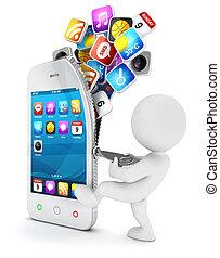 weißes, smartphone, 3d, öffnet, leute