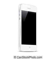 Weißes Smartphone isoliert im weißen Hintergrund