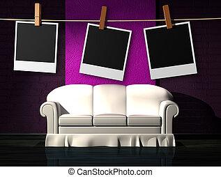 Weißes Sofa mit lila Teilen der Mauer im minimalistischen Inneren