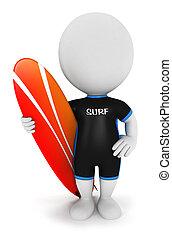 weißes, surfer, 3d, leute