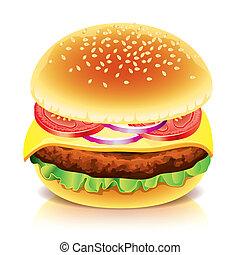 weißes, vektor, hamburger, freigestellt, abbildung
