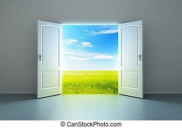 Weißes Zimmer mit offener Tür.