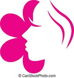 Weibliche Blume mit rosa Ikone isoliert auf weißem...