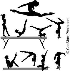 Weibliche Gymnastik-Silhouette-Silhouette-Silhouette-Block-Turnhallenübungen