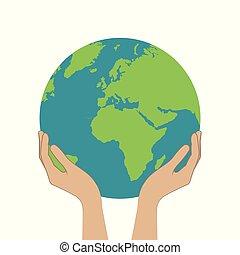 Weibliche Hände halten Planeten Erde.