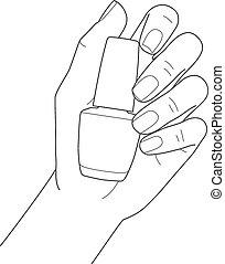 Weibliche Hand mit Maniküre mit Nagellack.