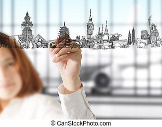 Weibliche Hand zeichnet Traumreisen