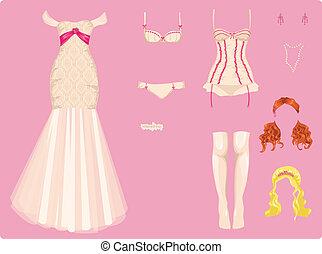 Weibliche Hochzeitskleider