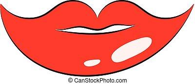 Weibliche Lippen, Vektor oder Farbdarstellung.