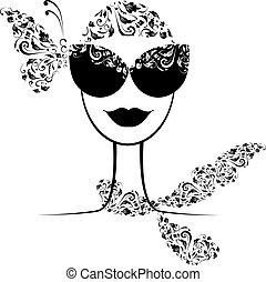 Weibliche Modesilhouette mit Sonnenbrille