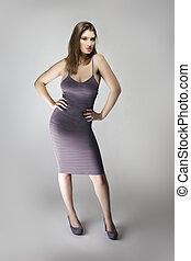 weibliche , schlank, lavendel, modell, mode, anfall, abnützende kleidung, lila