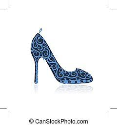 Weibliche Schuhe, Sketch für dein Design