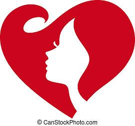 Weibliche Silhouette rotes Herz