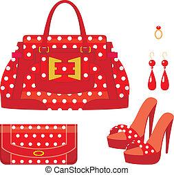 Weibliche Tasche, Handtasche und Schuhe