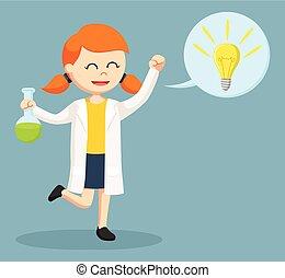 Weibliche Wissenschaftlerin mit Ideenruf.