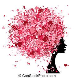 Weiblicher Kopf mit Haarstil aus kleinen Herzen für dein Design