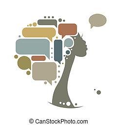 Weiblicher Kopf mit Rahmen, infographisches Konzept.