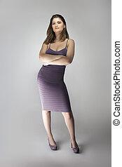 weibliches modell, lavendel, tragen, schlank, lila, mode, kleiden, anfall